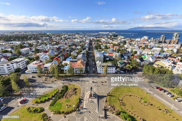 Wide angle view of Reykjavik from Hallgrimskirkja Church