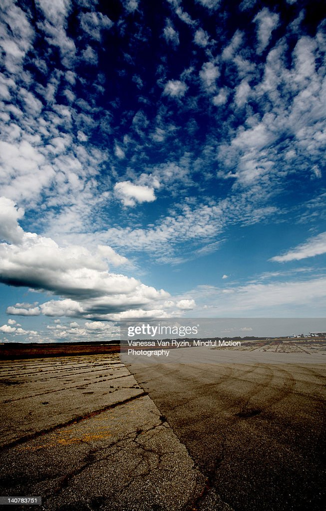 Wide angle view of runway : Stock Photo