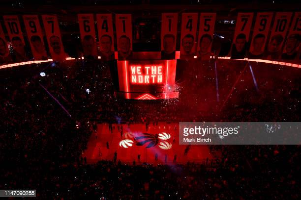 A wide angle view of Scotiabank Arena before Game One of the NBA Finals between the Golden State Warriors and the Toronto Raptors on May 30 2019 in...