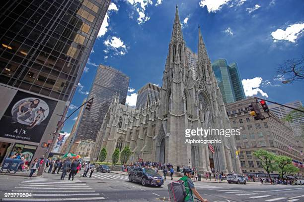 wide angle view of st patrick's cathedral - st. patricks cathedral manhattan stock photos and pictures
