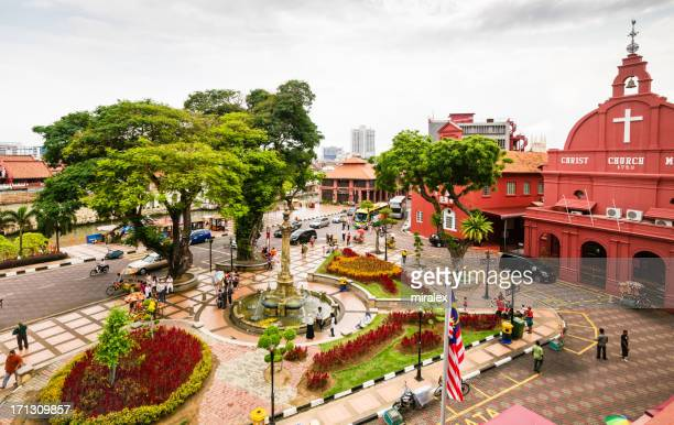 wide angle view of stadthuys square in malacca, malaysia - melaka state stock pictures, royalty-free photos & images