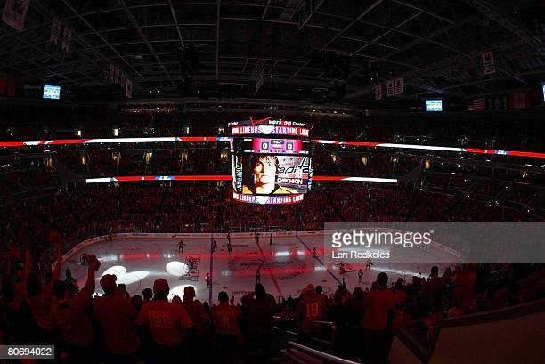 Wide angle view of the arena during the pregame introduction of Alex Ovechkin of the Washington Capitals against the Philadelphia Flyers during game...
