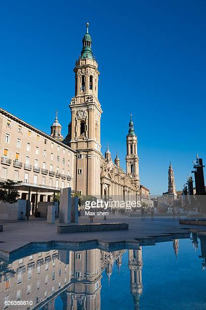 wide angle view of the cathedral-basilica of our lady of the pillar in zaragoza, spain. - zaragoza city stock photos and pictures