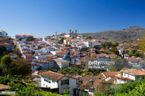 Wide angle view of the city Colourful Colonial buildings in the city centre of Ouro Preto in the state of Minas Gerais Brazil Ouro Preto meaning...