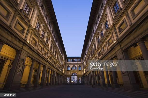 Wide angle view of the columns of the Palazzo degli Uffizi, Piazzale degli Uffizi, Florence, Italy
