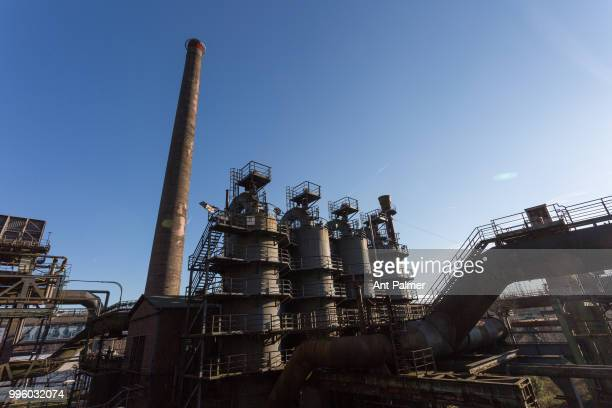 Wide angle view of the former ThyssenHüttenwerk steel mill now known as Landschaftspark Duisburg Nord Duisburg Germany February 14 2018 The original...