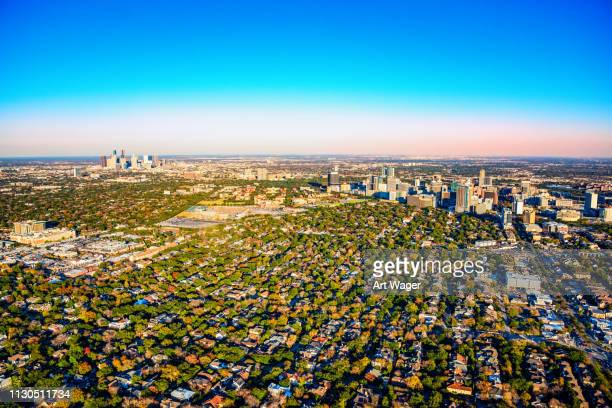 wide angle view of the houston metro area - texas stock pictures, royalty-free photos & images