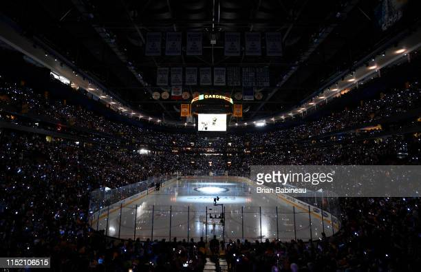A wide angle view of the ice prior to the start of warmups for the St Louis Blues and Boston Bruins during the Stanley Cup Final at the TD Garden on...