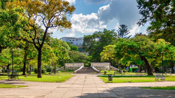 Wide angle view of the John Lennon Park in El Vedado, Havana, Cuba