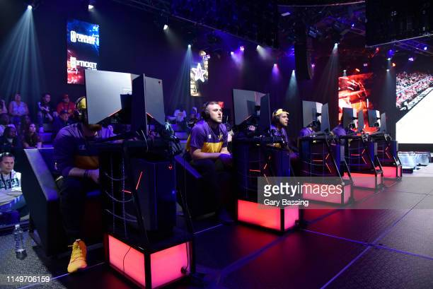 Wide angle view of the Lakers Gaming playing against Raptors Uprising Gaming club during the NBA 2K League Ticket Tournament on June 13 2019 The...