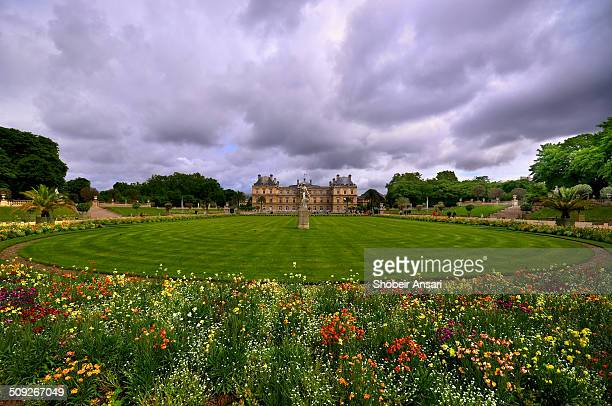 Wide angle view of the Luxembourg Gardens and Palace Paris France