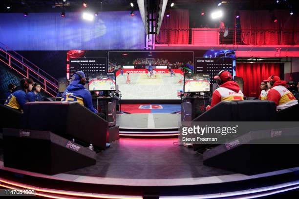 Wide angle view of the match between Warriors Gaming Squad and Hawks Talon Gaming Crew during Week 7 of the NBA 2K League regular season on May 30...