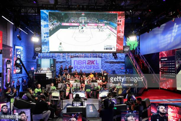Wide angle view of the matchup between TWolves Gaming and Kings Guard Gaming during the NBA 2K League Playoffs on July 25 2019 at the NBA 2K Studio...