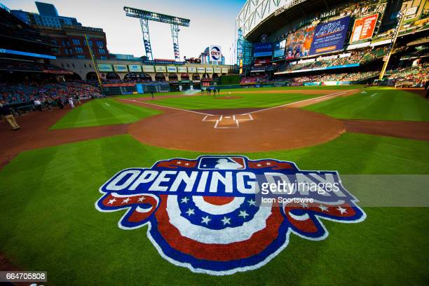 Wide angle view of the Opening Day logo prior to an MLB game between the Houston Astros and the Seattle Mariners on April 3 at Minute Made Park in...