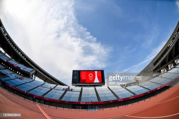 Wide angle view of the score board of Miyagi Stadium during the Tokyo 2020 Olympic Football Tournament match between China and Brazil at Miyagi...