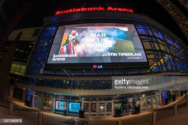 Wide angle view of the Scotiabank Arena facade. The famous place is the home for the Maple Leaf hockey team and the Toronto Raptors basketball team.