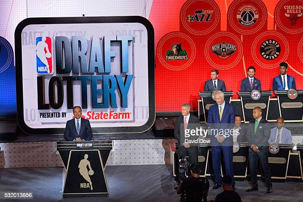 A wide angle view of the stage during the 2016 NBA Draft Lottery at the New York Hilton in New York New York NOTE TO USER User expressly acknowledges...
