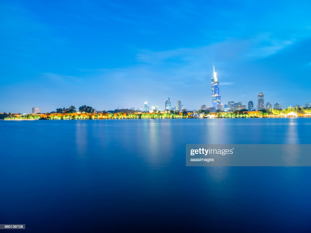 wide angle view of xuanwu lake and Zifeng Tower : Stock-Foto
