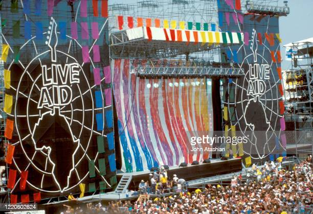 Wide angle view show the entire Live Aid Stage set-up in Philadelphia Pennsylvania on July 13, 1985.