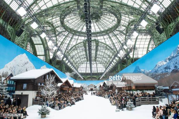 Wide atmosphere shot of the set-up at the Chanel show as part of the Paris Fashion Week Womenswear Fall/Winter 2019/2020 on March 5, 2019 at Le Grand...