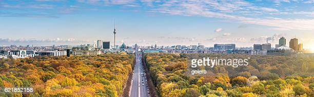 wide Berlin skyline over autumn colored  Tiergarten