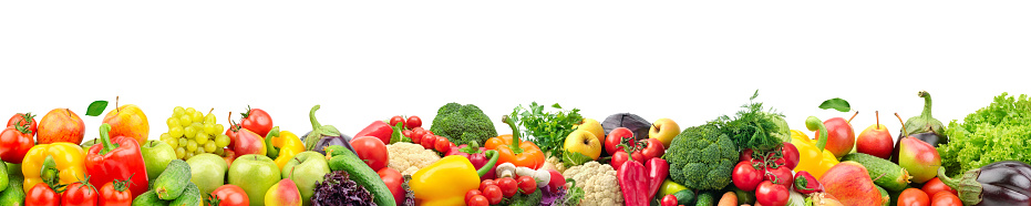 Wide collage of fresh fruits and vegetables for layout 884816148