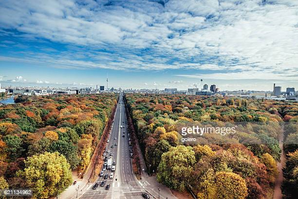 wide colorful autumn Berlin cityscape seen from victory column