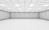 Wide empty office room interior with white walls 3 d