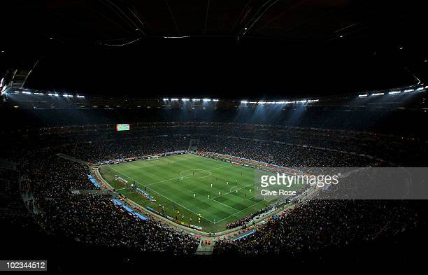 Wide general view of action during the 2010 FIFA World Cup South Africa Group D match between Ghana and Germany at Soccer City Stadium on June 23,...