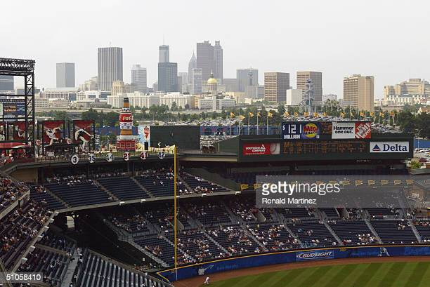 A wide general view of the stadium and Atlanta skyline taken during the game between the Atlanta Braves and the Kansas City Royals at Turner Field on...