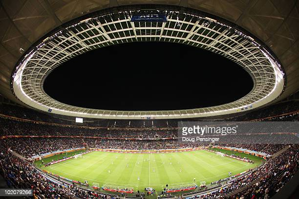 A wide general view of the stadium as the match begins during the 2010 FIFA World Cup South Africa Group F match between Italy and Paraguay at Green...