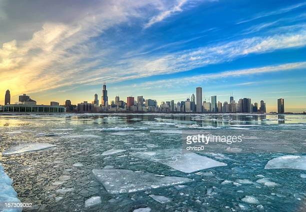 Wide Icy View of Chicago Skyline