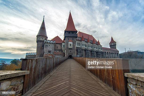 Wide image of Corvin's Castle and the entrance in a beautiful december day.