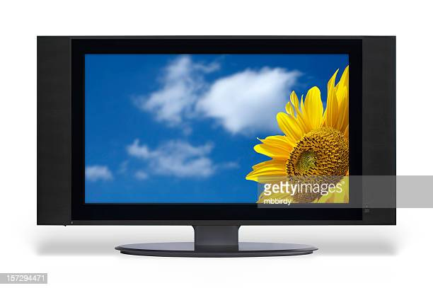 wide lcd tv set (clipping path) - lcd television stock pictures, royalty-free photos & images