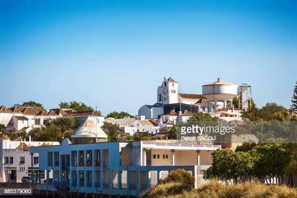 wide of town tavira, algarve region, portugal - tavira imagens e fotografias de stock