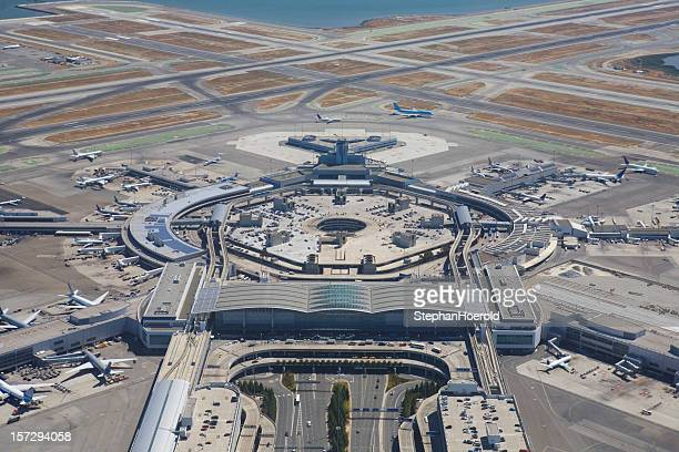 A wide pan view of San Francisco Airport