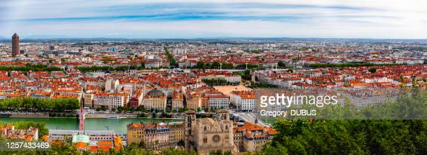 wide panorama aerial view of lyon french cityscape with saone river and monuments and la part-dieu business district - lyon stock pictures, royalty-free photos & images