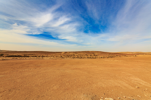 Wide panorama of Negev desert with clouds at wind 810543214