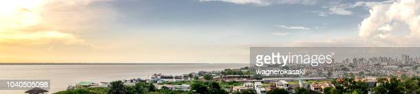 wide panoramic view of belem do para, from mangal das garcas park - para state stock pictures, royalty-free photos & images