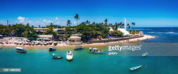 wide panoramic view on coast of praia do forte - bahia state stock pictures, royalty-free photos & images