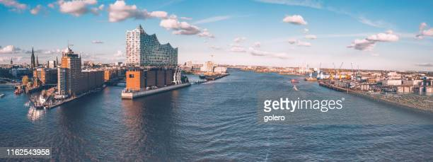 wide panoramic view on hamburg hafen city - elbphilharmonie stock pictures, royalty-free photos & images