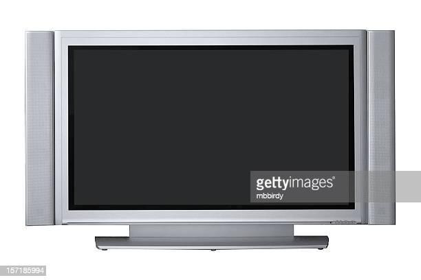 grande tv de plasma com traçado de recorte, isolado no fundo branco - tela grande - fotografias e filmes do acervo
