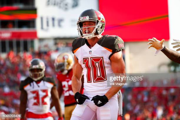 Wide receiver Adam Humphries of the Tampa Bay Buccaneers reacts after a touchdown in the fourth quarter of the game against the San Francisco 49ers...