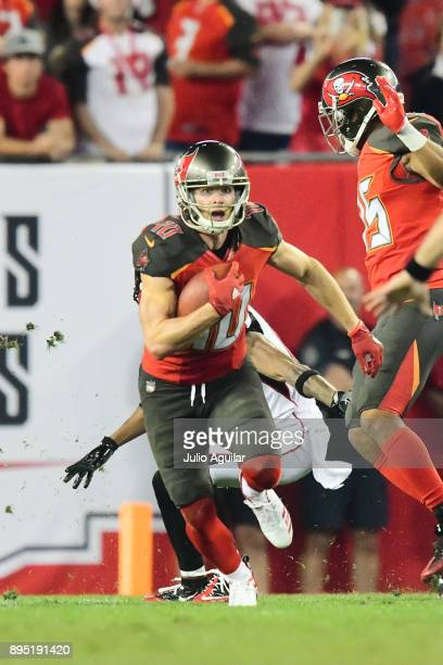 Wide receiver Adam Humphries of the Tampa Bay Buccaneers runs for a first down late in the fourth quarter against the Atlanta Falcons on December 18...