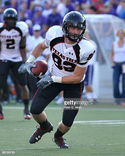 Wide receiver Adam James of the Texas Tech Red Raiders rushes down field after making a catch in the second half, during a game against the Kansas...
