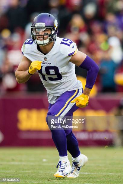 Wide receiver Adam Thielen of the Minnesota Vikings in action in the fourth quarter against the Washington Redskins at FedExField on November 12 2017...