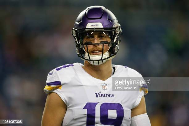 Wide receiver Adam Thielen of the Minnesota Vikings looks on against the Seattle Seahawks at CenturyLink Field on December 10 2018 in Seattle...
