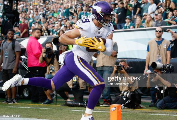 Wide receiver Adam Thielen of the Minnesota Vikings makes a touchdown against the Philadelphia Eagles during the second quarter at Lincoln Financial...