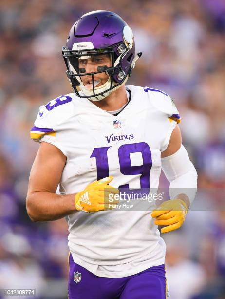Wide receiver Adam Thielen of the Minnesota Vikings moves during the first quarter against the Los Angeles Rams at Los Angeles Memorial Coliseum on...