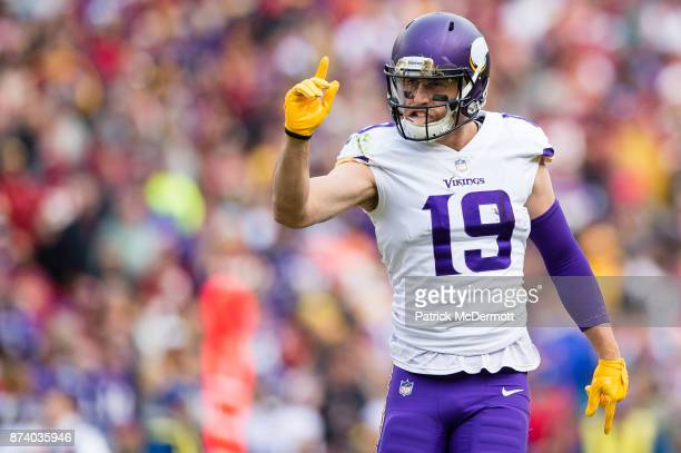Wide receiver Adam Thielen of the Minnesota Vikings reacts during the second quarter against the Washington Redskins at FedExField on November 12...